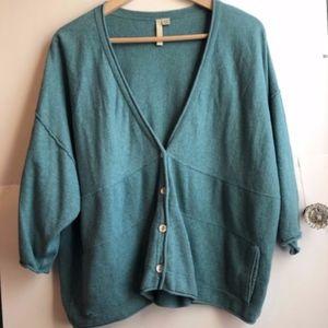 J.JILL Green Blue 3/4 Oversized Cardigan Sweater
